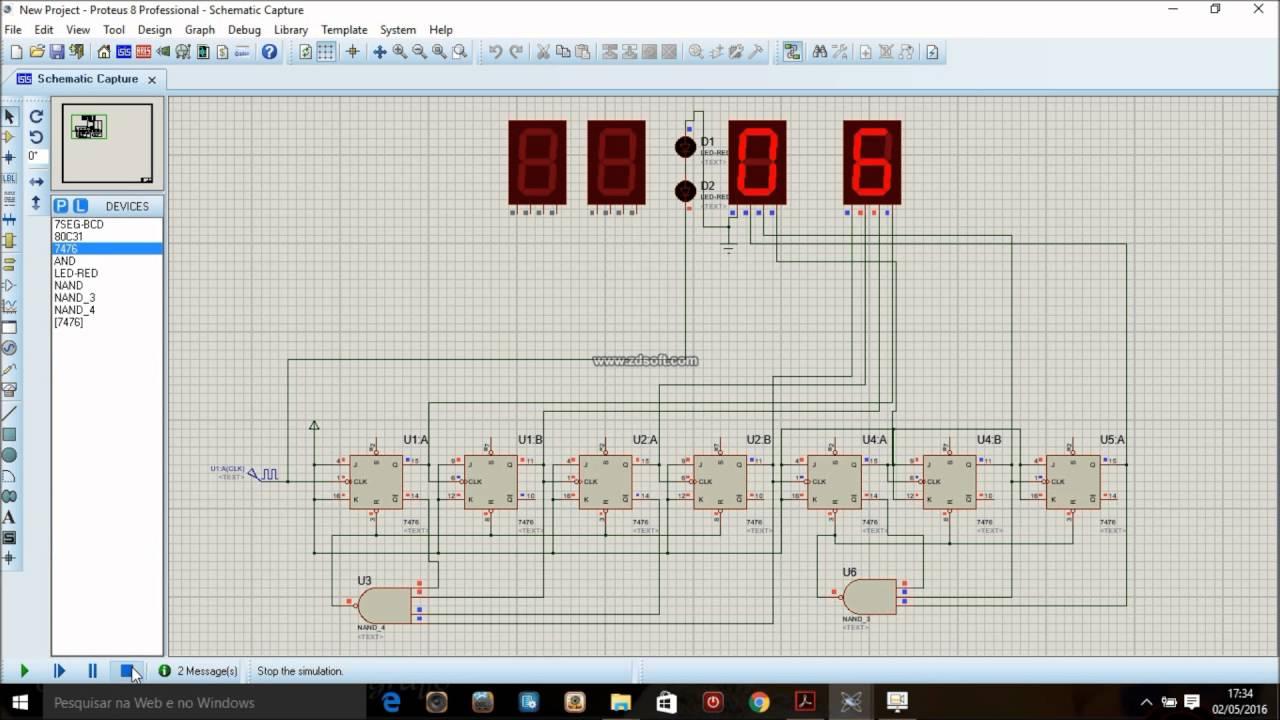 Montando Um Relógio Digital No Proteus Usando Flip Flop's