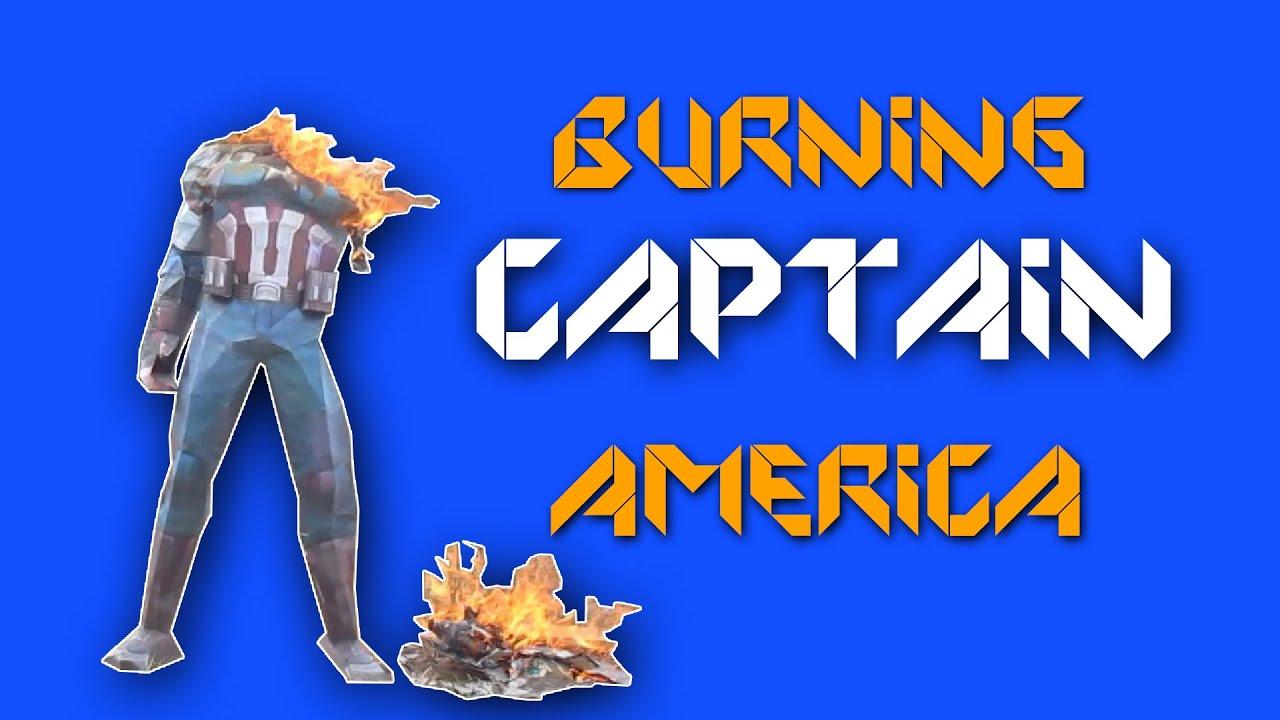 Papercraft-Burning captain america