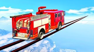 EXTREME MILE LONG FIRE TRUCK TIGHTROPE! (GTA 5 Races)