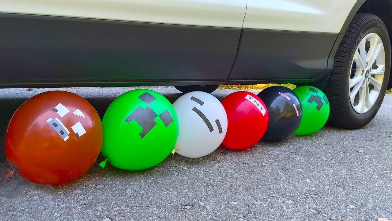 Experiment ! Car vs Balloons Minecraft, Orbeez and more