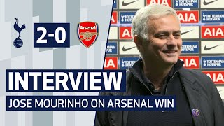 Jose mourinho spoke to spurs tv after guiding his side a 2-0 north london derby win against arsenal!