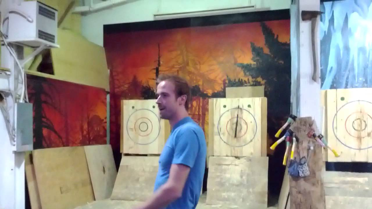 two handed axe throw youtube