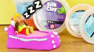 Playmobil Bett selber machen | Silk Clay Bettchen mit Foam Clay Wolkenschleim Verzierung | DIY