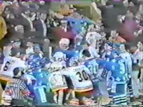 Bench Clearing Brawl: Boston Bruins vs. Quebec Nordiques