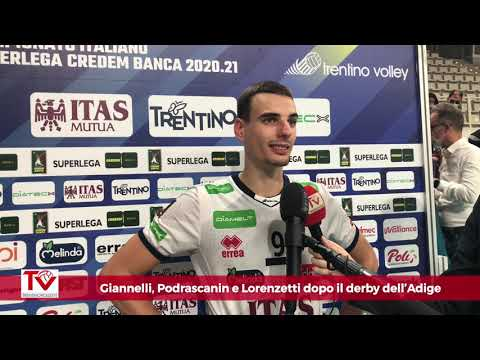 Giannelli, Podrascanin e Lorenzetti dopo il derby dell'Adige