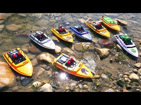 RC ADVENTURES  Tiny Jet Boats Racing  PT 2 of 2  MAiN EVENT  CREEK RACES! NQD