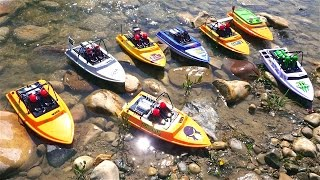 "RC ADVENTURES - Tiny Jet Boats Racing - PT 2 of 2 - MAiN EVENT - CREEK RACES! NQD ""Tear Into"" Boats"