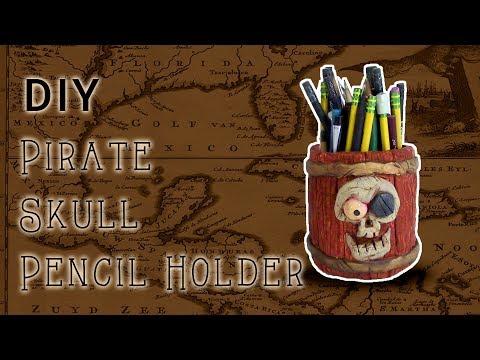 DIY Pirate Skull Barrel Pencil Holder