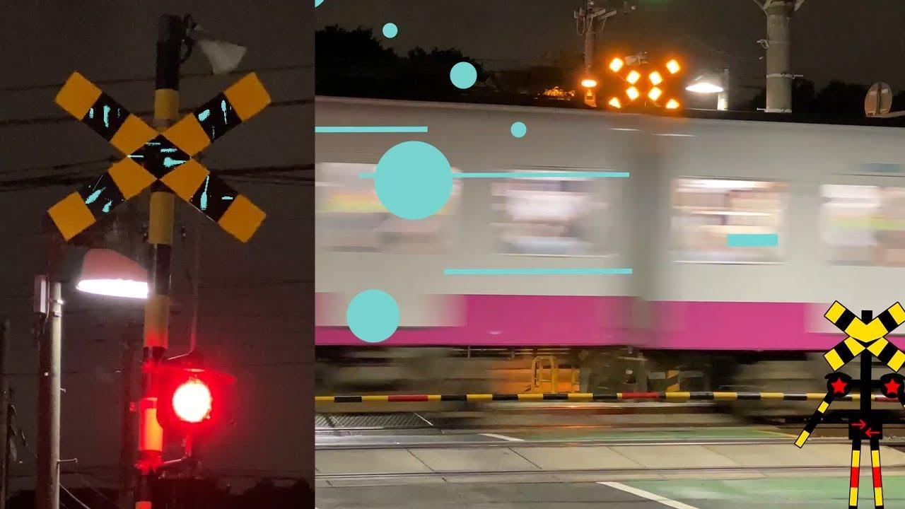 夜の踏切【Railroad crossing at night】#Shorts