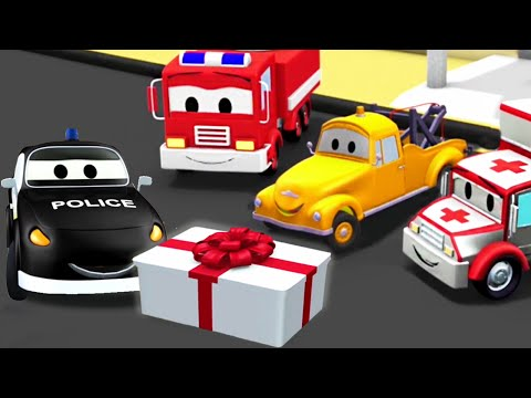 The Car Patrol: fire truck and police car, and Mat's Birthday in Car City | Truck Cartoon for kids