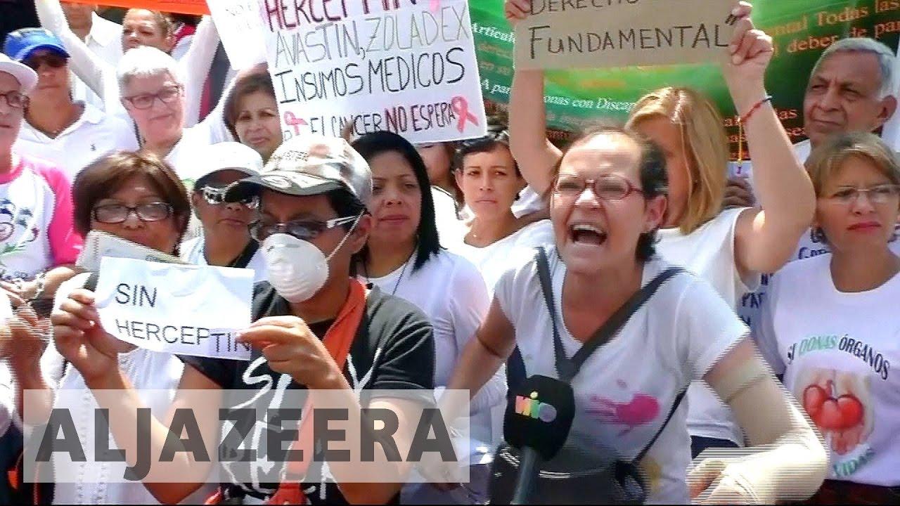 Venezuelans protest medicine shortages