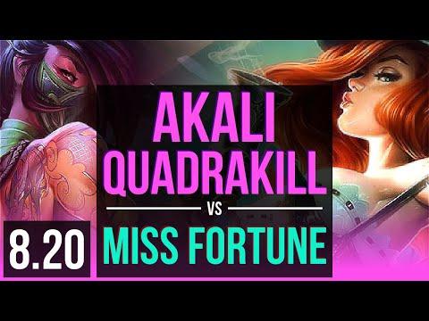 AKALI vs MISS FORTUNE (MID)   Quadrakill, KDA 7/0/3, Godlike   Korea Master   v8.20