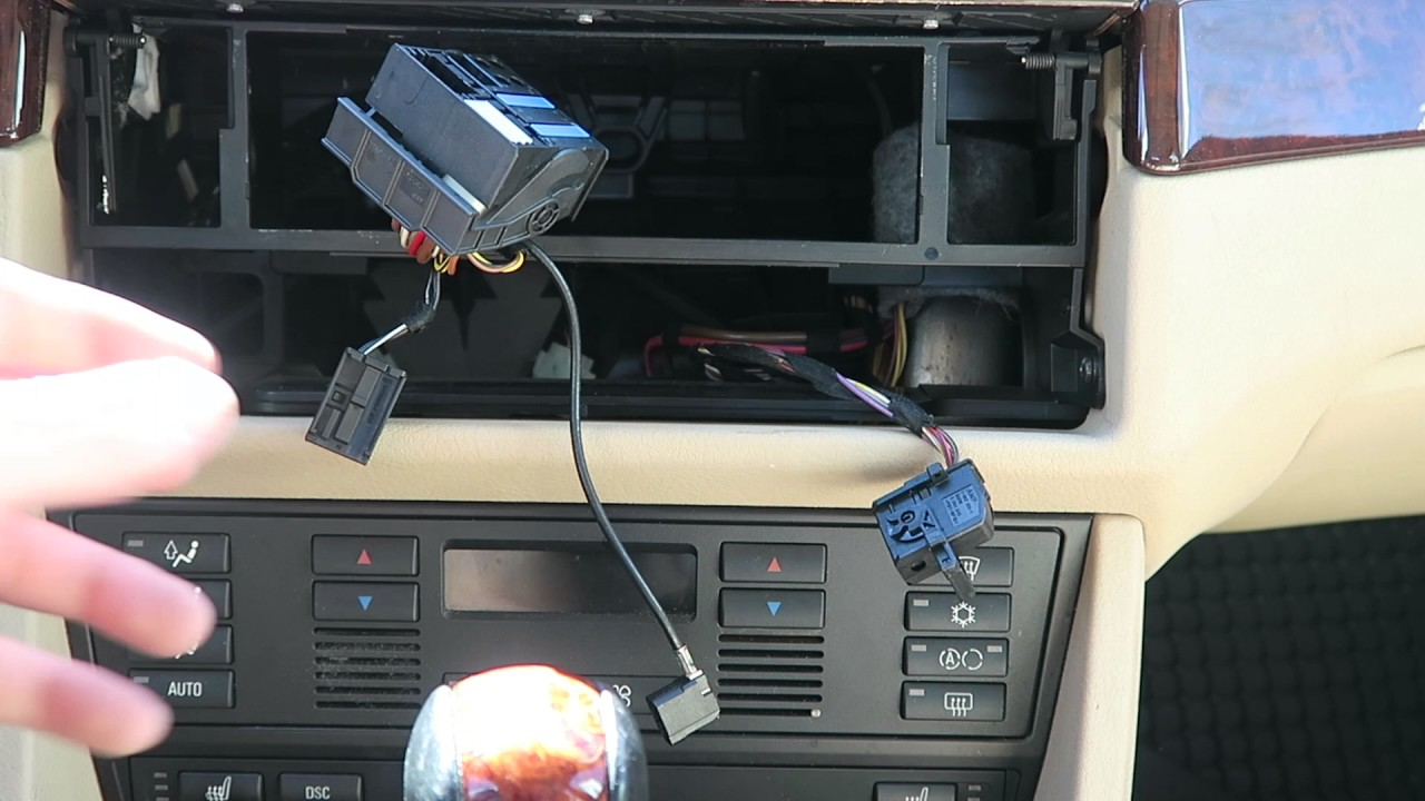 e39 factory bmw aux input adapter kit installation diy [ 1280 x 720 Pixel ]