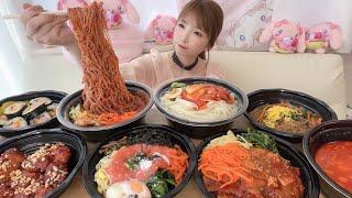 【大食い】韓国冷麺チョル麺ヤンニョムチキン明太ピビンバとか【もえあず】