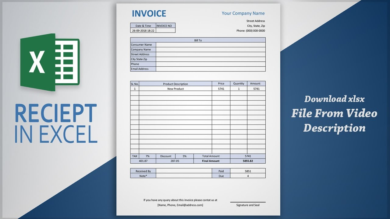 Creating Professional Invoice In Excel Receipt Making Tutorial Free Template Youtube