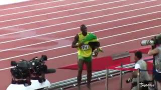 Usain Bolt wins in Rio 2016 the men's 100 AND reaction of fans inside the stadium  Rio Olympics 2016