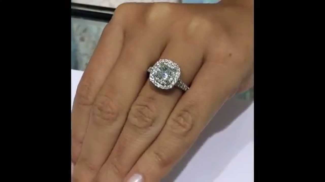 Cushion Diamond Engagement Ring In Double Halo By Lauren B