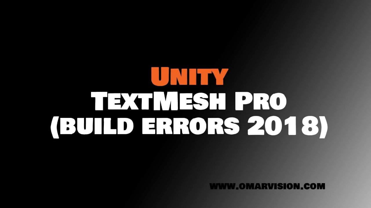 TextMesh Pro Build Errors Fix - YouTube