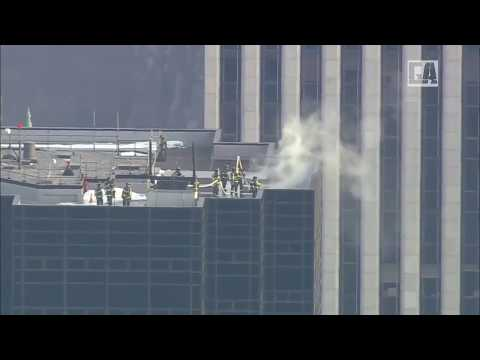 Breaking News: Aerials show a live look at Trump Tower in New York City where a fire broke out,