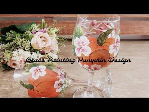 Glass Painting Pumpkin Design | Glass Painting Tutorial | Acrylic | Aressa | 2018