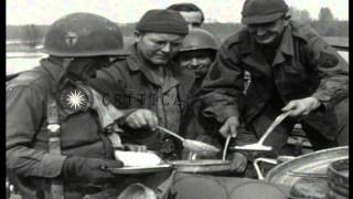 Infantrymen of US 36th Infantry Division, 143rd Regiment, 2nd Battalion cross can...HD Stock Footage