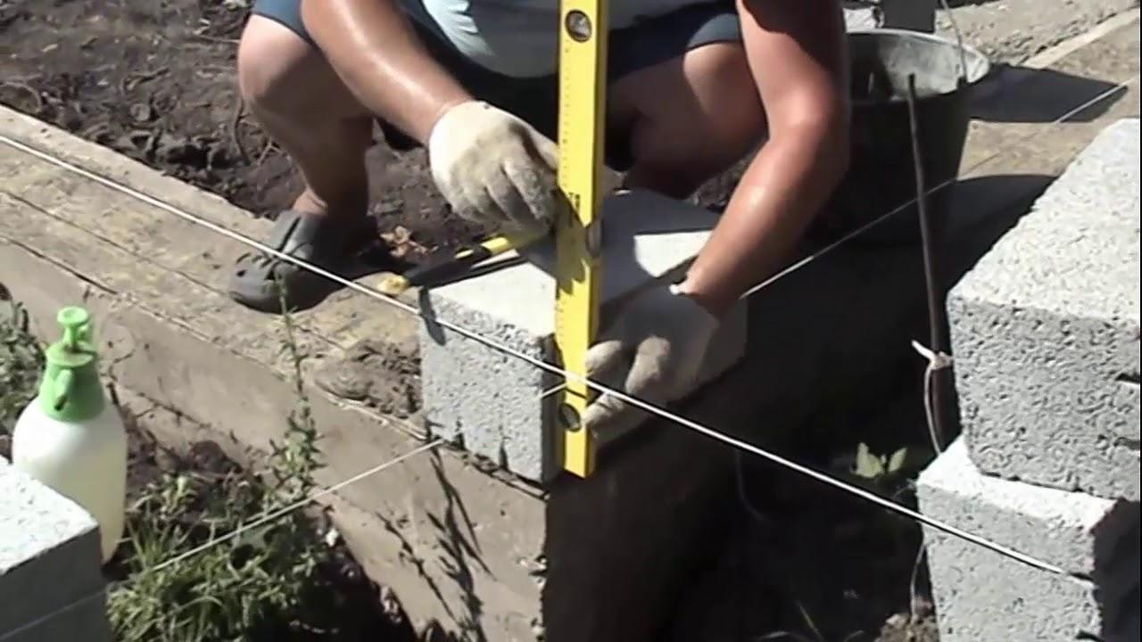 как выложить углы из шлакоблока