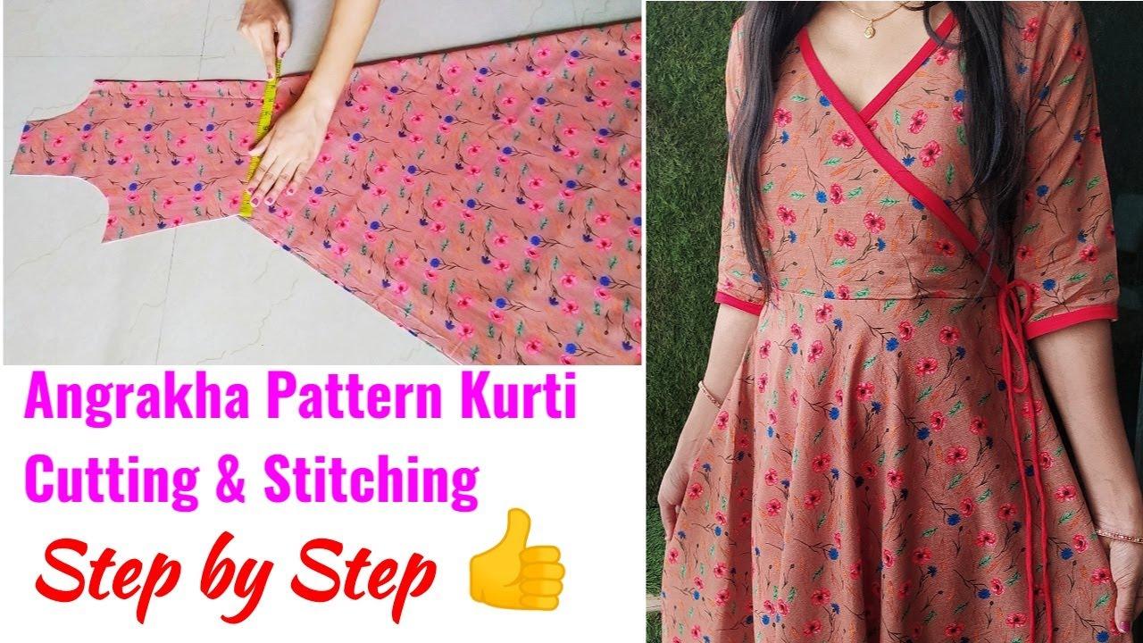 Download Designer Umbrella Cut Angrakha Pattern Kurti Cutting and Stitching|Umbrella Kurti/Gown/Suit Cutting