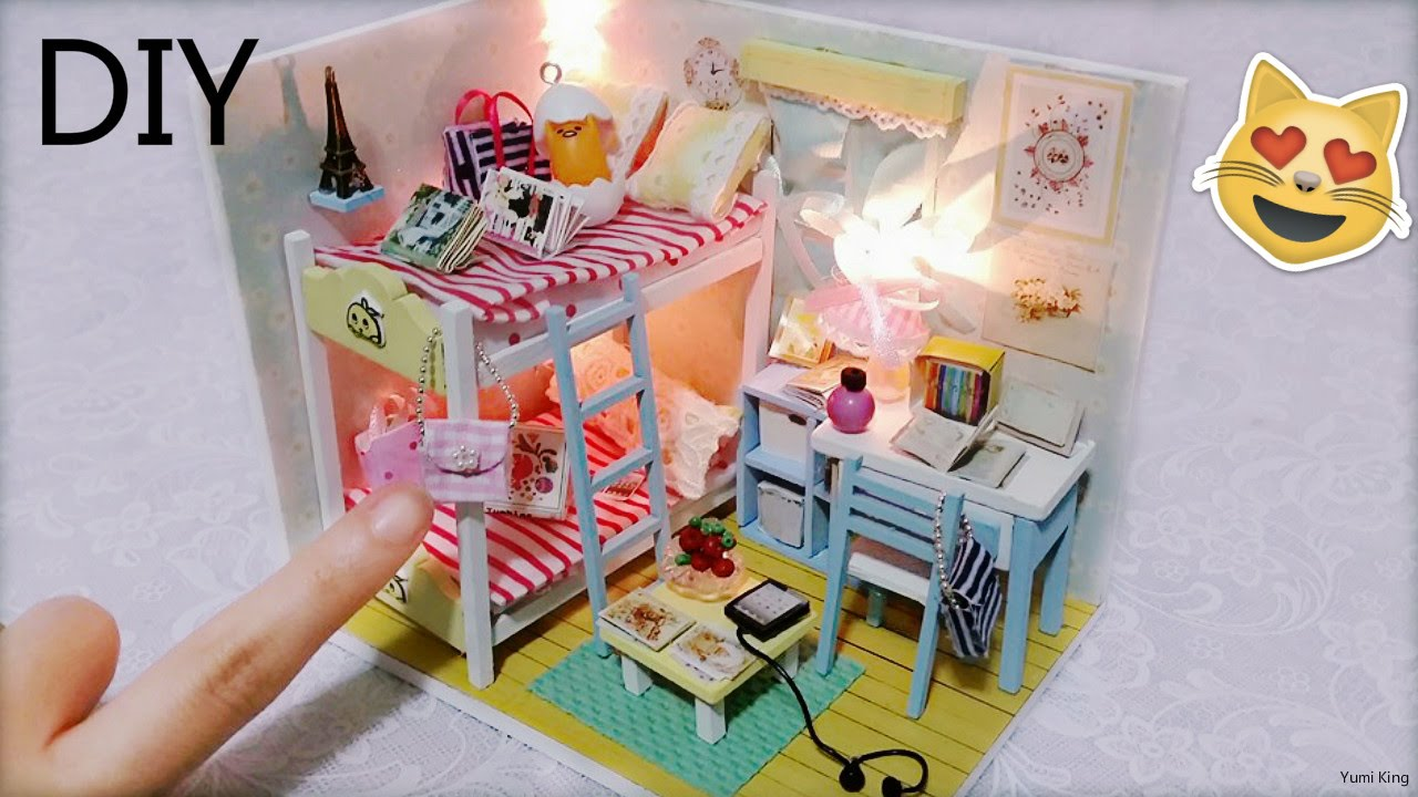 Diy Miniature Dollhouse With Full Furniture Sets Lights Diy Room Decor