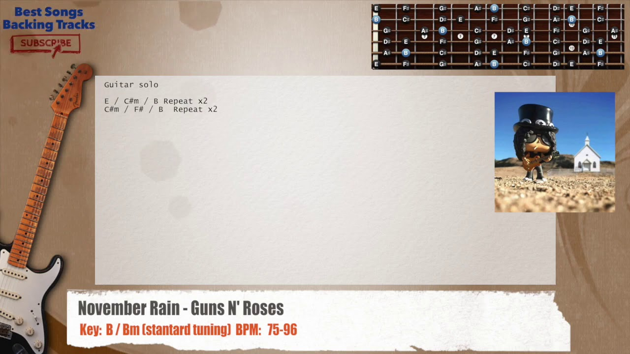 November Rain Guns N Roses Guitar Backing Track With Chords And