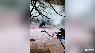 Men use turbans to rescue stranger dangerously stuck beside B.C. waterfall