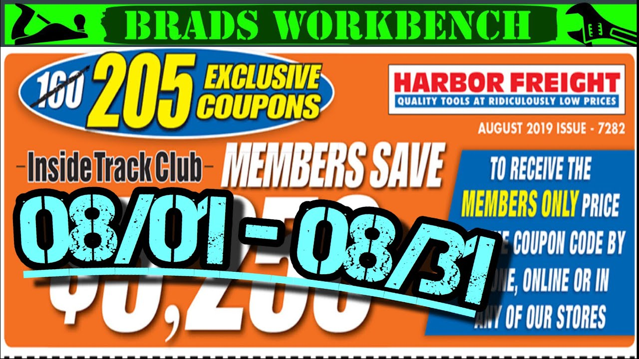 Harbor Freight MONTHLY INSIDE TRACK CLUB Coupons || August 2019