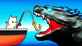 Catching The GODZILLA SHARK (Cat Goes Fishing)