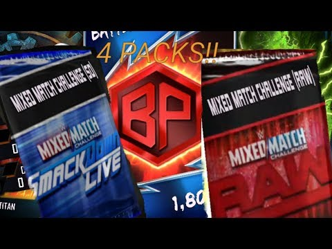 4 MIXED MATCH CHALLENGE PACKS OPENING! TBG REWARDS! WWE SUPERCARD #49