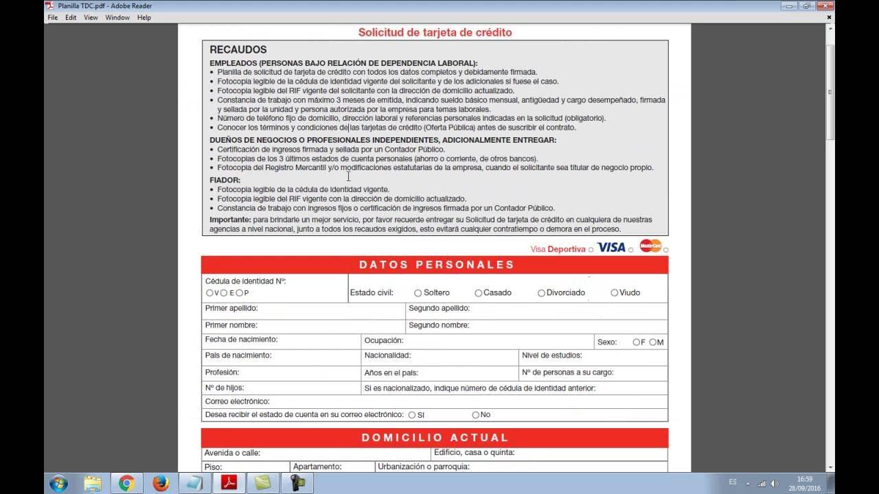 Como llenar solicitud de tarjeta de credito banco de for Banco de venezuela solicitud de chequera
