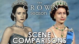 The Crown (2016) season 1 and Queen Elizabeth II - scene comparisons