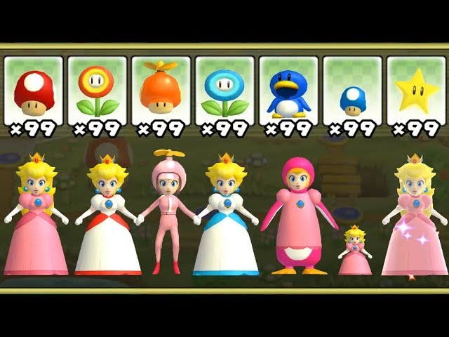 New Super Mario Bros Wii - All Peach Power-Ups