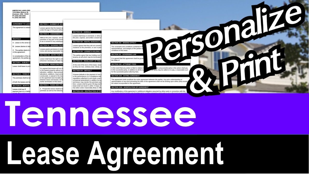 Tennessee Lease Agreement For Rental Property Youtube
