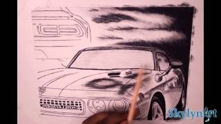 Timelapse Drawing of a Dodge Challenger