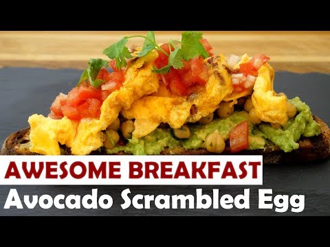 (How To) Avocado Scrambled Egg with Chickpea & Tomato Salad on Sourdough Bread
