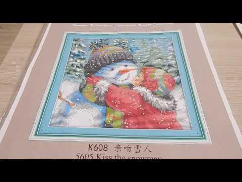 Вышивка поцелуй снеговика