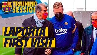 ⚽️👀 JOAN LAPORTA VISITS THE FIRST TEAM  IN TRAINING