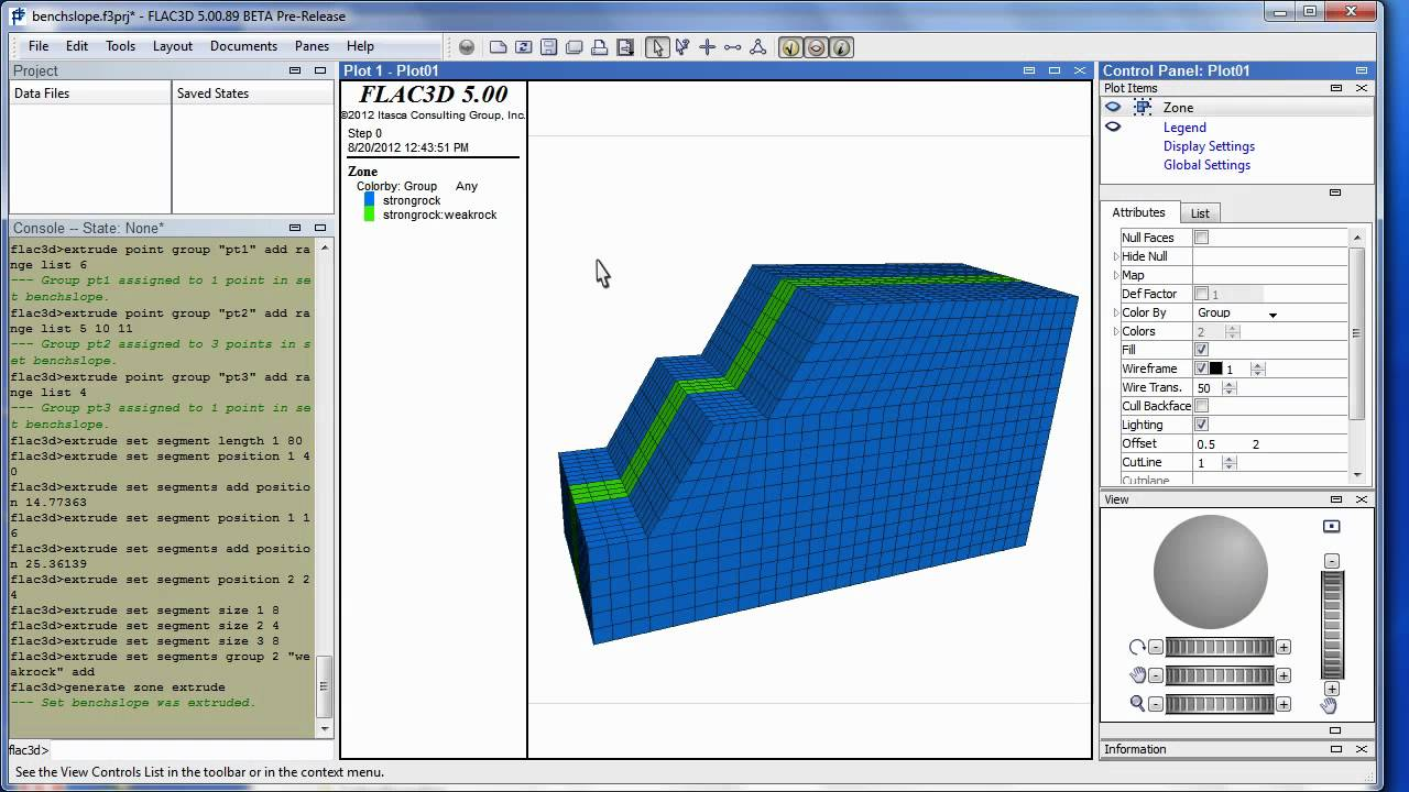 flac3d 5 0 a simple bench slope demo youtube rh youtube com Itasca FLAC Itasca Software