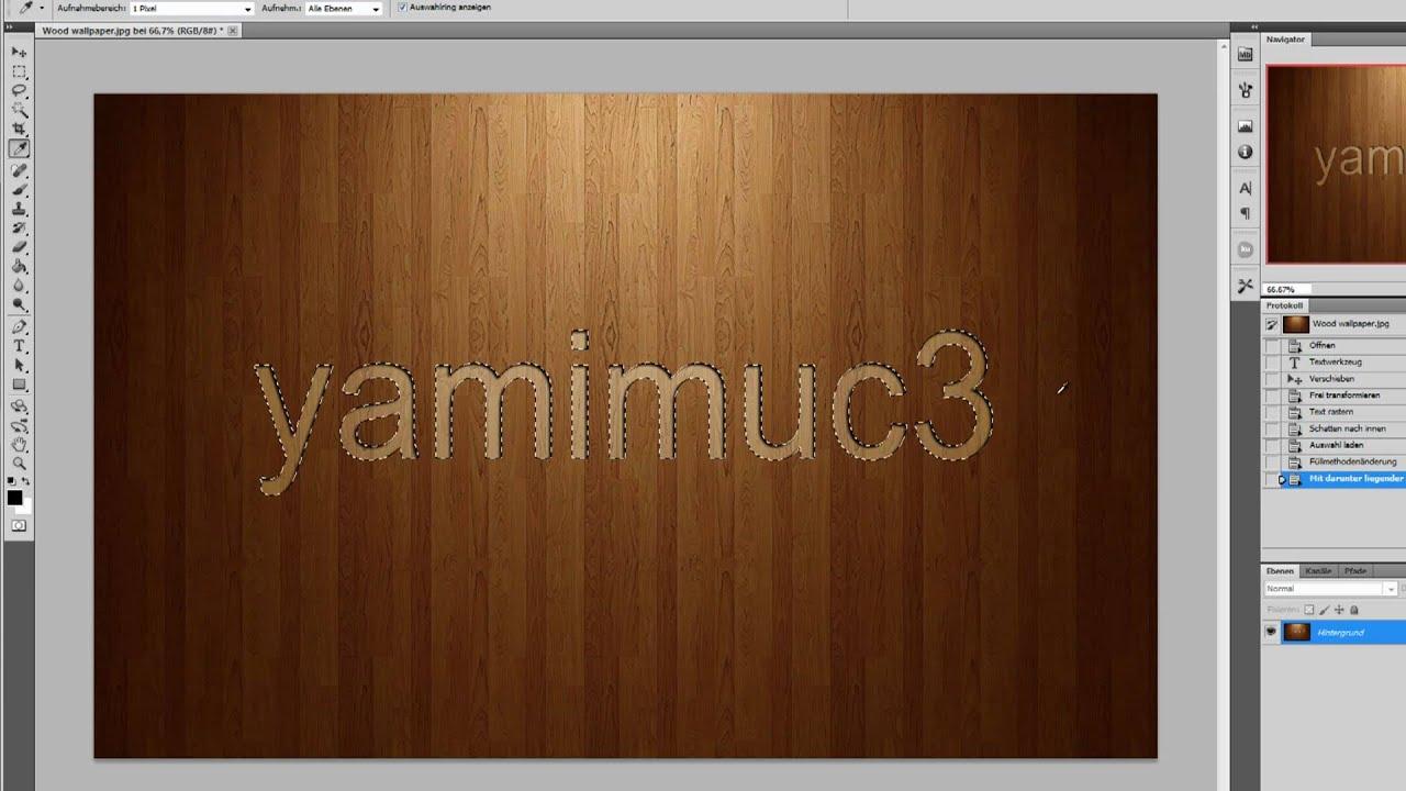 Photoshop Tutorial: Schrift oder Logo in Materialien reinarbeiten ...