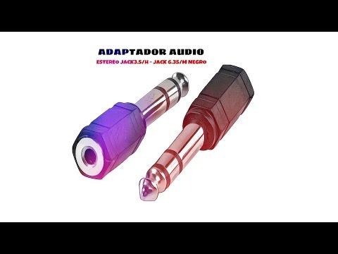 Video de Adaptador audio estereo jack 3.5 hembra - jack 6.35 macho  Negro