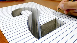 Draw a number 2 on Line Paper   3D Trick Art