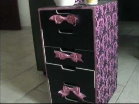 D I Y Decoupage Your Furniture Storage Youtube