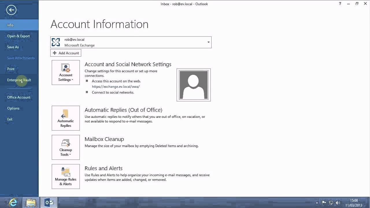 Enterprise Vault 10 0 3 with Office 2013 on Windows 8