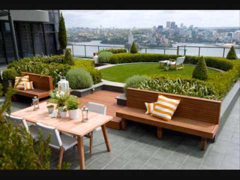 rooftop garden decoration ideas - YouTube