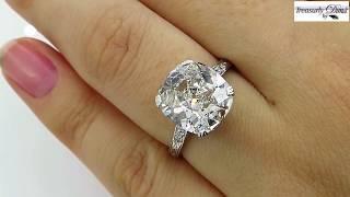 GIA 4.16ct Art Deco Old Mine Cushion Diamond Solitaire Engagement Wedding Platinum Vintage Ring