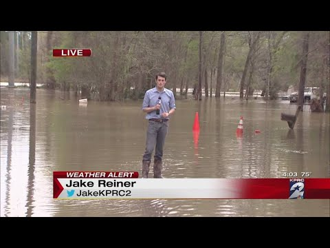 High water covering roads in Houston area